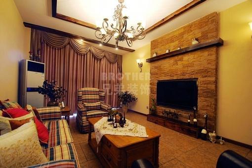 美式风格客厅电视背景墙装修效果图片