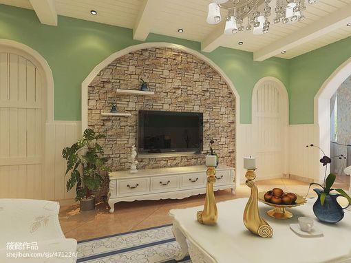 客厅仿古砖电视背景墙效果图