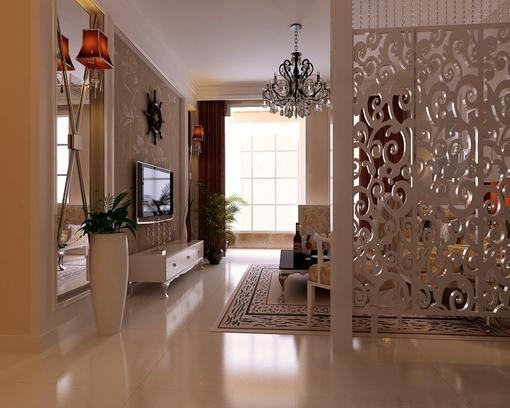 现代客厅镂空雕花隔断效果图