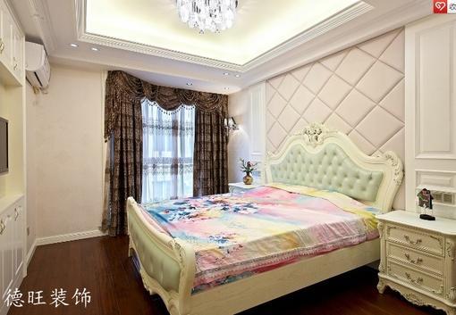欧式主卧室软包皮背景墙装修效果图