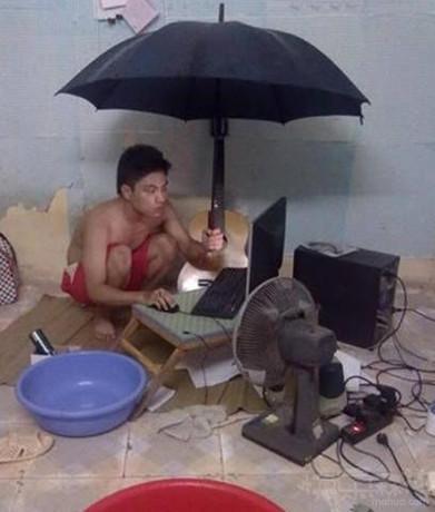 不管风雨再大,有电脑就是家!