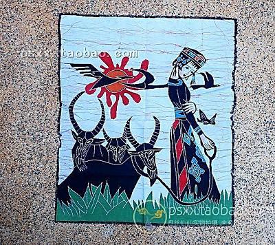 3172 单蜡染画 放羊女娃 民间染布艺术品 无框壁画 礼品挂...